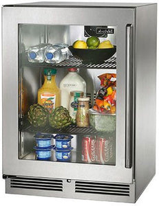 Perlick HP24RO-3-3L 24-Inch Built-In Undercounter Outdoor Refrigerator With Stainless Steel Glass Door- 5.2 Cu. Ft.