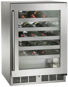Perlick HP24WS-3-3L 24in Built-in Undercounter Wine Reserve With Stainless Steel Glass Door 45 Bottle Capacity 5.2 Cu. Ft.