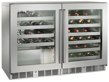 Perlick  48in Built-in Undercounter Dual Temperature Wine Reserve 80 Bottle Capacity 11.7 Cu. Ft. HP48WW-S-3-4L-4R