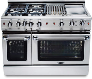 "Capital GSCR484W Precision 48"" Self Clean Gas Range 4 Sealed Burners With 4.1 Cu. Ft. Oven + 24"" Power Wok"
