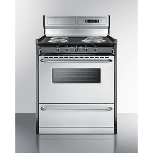 "Summit 30"" Freestanding Electric Range Stainless Steel TEM230BKWY"