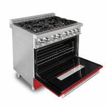 "ZLINE 36"" Single Dual Fuel Range Stainless Steel Red Matte Door 4.6 cu. ft. RA-RM-36"