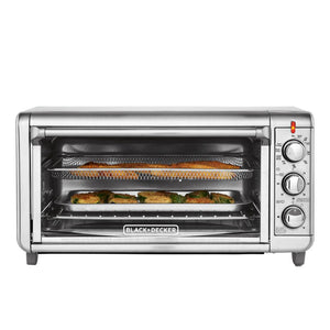 Black & Decker TO3265XSSD Crisp 'N Bake Convection Toaster Oven With Air Fryer 8-Slice Extra Wide - Silver