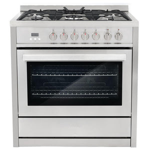 Cosmo 2 Piece Kitchen Appliance Package - Dual Fuel Range And Range Hood COS-F965NF/668AS900