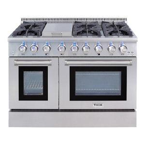 "Thor 48"" Dual Fuel Range Stainless Steel Double Oven Convection Fan 6 Burner 6.7 cu. ft. HRD4803U"