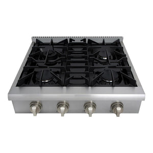 "Thor Kitchen 30"" Gas Rangetop in Stainless Steel with 4 Burners (HRT3003U)"