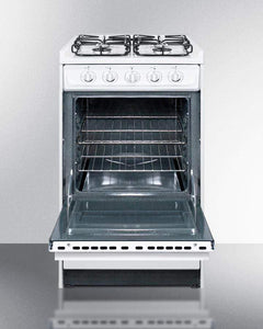 "Summit Appliance Freestanding Ranges 20"" wide slide-in gas range in white with sealed burners and electronic ignition"