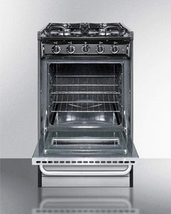 "Summit Appliance Freestanding Ranges 20"" Wide Slide-in Gas Range with Stainless Steel Doors and Sealed Burners"