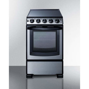 "Summit Appliance Freestanding Ranges 20"" wide smooth-top range in stainless steel"