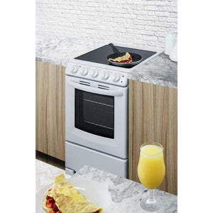 "Summit Appliance Freestanding Ranges 20"" wide smooth-top range in white"
