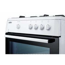 "Summit Appliance Freestanding Ranges 24"" wide slide-in look gas range with sealed burners, waist-high broiler, storage compartment, large black glass oven window, and white cabinet"