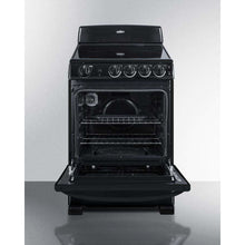 "Summit Appliance Freestanding Ranges 24"" wide smooth-top electric range in black, with lower storage drawer and oven window"