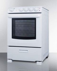 "Summit Appliance Freestanding Ranges 24"" wide smooth-top electric range in white, with lower storage drawer and oven window"