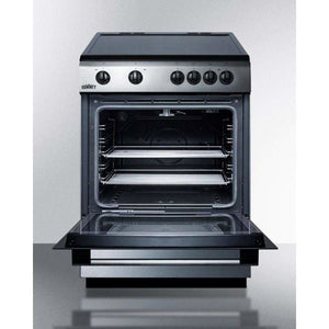 "Summit Appliance Freestanding Ranges 24"" wide smoothtop electric range in slide-in style, with stainless steel manifold, storage drawer, and large oven window"