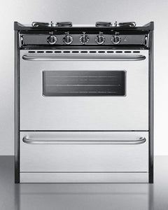 "Summit Appliance Freestanding Ranges 30"" wide slide-in gas range with stainless steel doors and sealed burners"