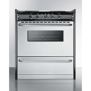 "Summit Appliance Freestanding Ranges 30"" Width Slide-in electric range with stainless steel doors and black porcelain top"