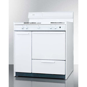"Summit Appliance Freestanding Ranges 36"" Width White gas range with electronic ignition"