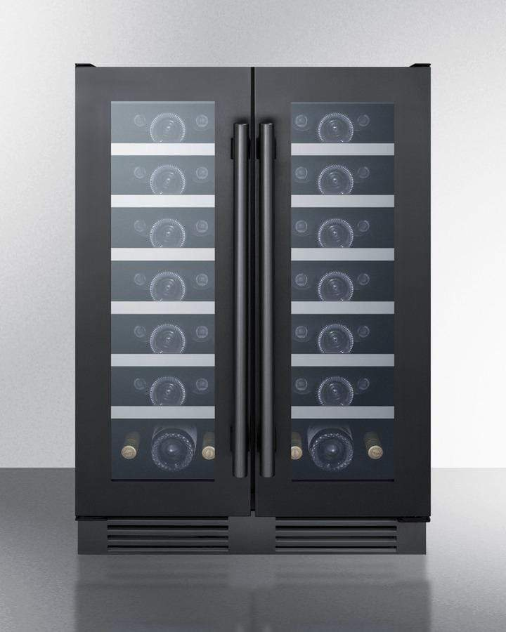 Summit Appliance Wine Reserves 42 Bottle French Door Undercounter Dual Zone Convertible Wine Cooler