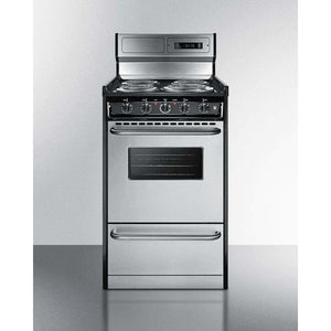 "Summit Appliance Freestanding Ranges Deluxe 220V electric range in slim 20"" width with stainless steel doors"
