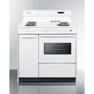 "Summit Appliance Freestanding Ranges Deluxe 220V white electric range with clock/timer and oven with light in 36"" width"