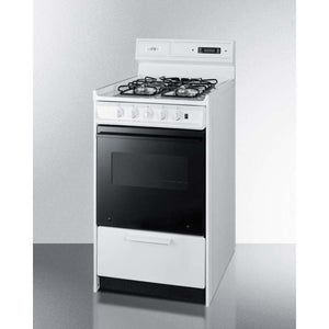 "Summit Appliance Freestanding Ranges Deluxe gas range in slim 20"" width with electronic ignition, digital clock/timer, black glass oven door, and white porcelain top"