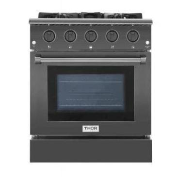 Thor Kitchen Ranges Thor Kitchen 30 Inch Gas Range 4 Burners Cooktop 4.2 cu.ft Oven Black Steel Free-Standing Blue Porcelain Oven Interior HRG3080-BS
