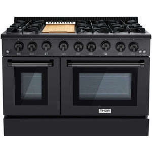 "Thor Kitchen Ranges Thor Kitchen 48"" Pro-Style Double Oven Dual Fuel Range. HRG4808-BS"