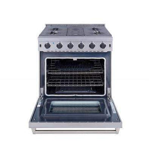 "Thor Kitchen Ranges Thor Kitchen Professional 30"" 4.55 cu ft. Free-Standing Gas Range in Stainless Steel, LRG3001U"