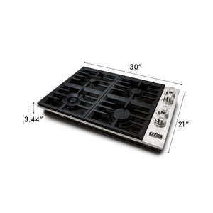 ZLINE Kitchen Cooktops 30 in. Dropin Cooktop with 4 Gas Burners and Black Porcelain Top