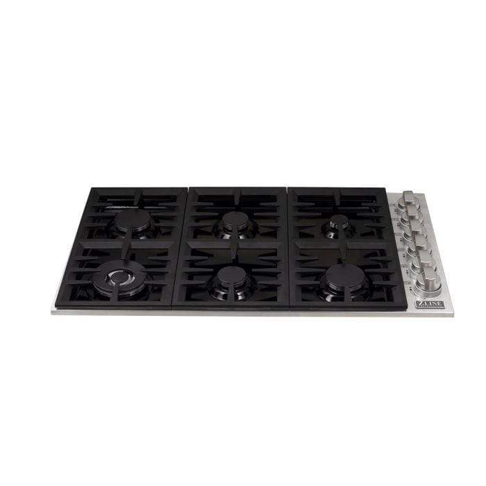 ZLINE Kitchen Cooktops Dropin Cooktop with 6 Gas Burners and Black Porcelain Top