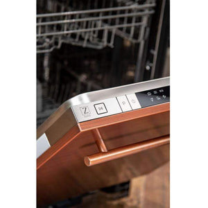 ZLINE Kitchen Dishwashers Zline 18 in. Top Control Dishwasher in Copper with Stainless Steel Tub and Modern Style Handle