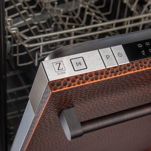 ZLINE Kitchen Dishwashers Zline 18 in. Top Control Dishwasher in Hand-Hammered Copper with Stainless Steel Tub and Traditional Style Handle