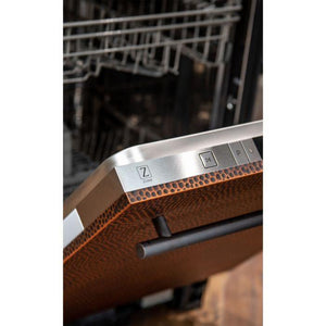 ZLINE Kitchen Dishwashers Zline 24 in. Top Control Dishwasher in Hand-Hammered Copper with Stainless Steel Tub and Traditional Style Handle