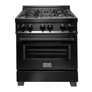 "ZLINE Kitchen Ranges 30"" ZLINE 30"" Black Stainless 4.0 cu.ft. 4 Gas Burner/Electric Oven. RAB-30"