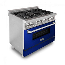 "ZLINE Kitchen Ranges ZLINE 36"" Stainless Steel Dual Fuel Range with Blue Gloss Door, RA-BG-36"