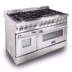 ZLINE Kitchen Ranges ZLINE 48 in. 6 cu. ft. 7 Gas Burner/Electric Oven Range in Stainless Steel. RA48