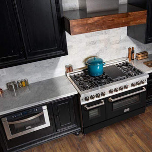 "ZLINE Kitchen Ranges 48"" ZLINE 48 in. Professional Dual Fuel Range in Snow Stainless with Black Matte Door. RAS-BLM-48"