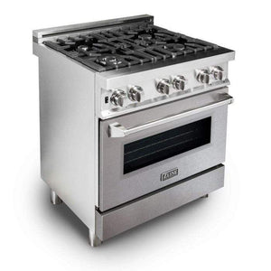 ZLINE Kitchen Ranges ZLINE Kitchen and Bath 30 in. 4 cu. ft. Single Dual Fuel Range in Stainless Steel with Snow Finished Stainless Steel Door. RA-SN-30