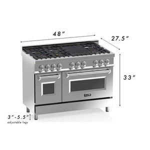 ZLINE Kitchen Ranges ZLINE Kitchen and Bath 48 in. 6 cu. ft. Double Oven Dual Fuel Range in Stainless Steel with White Matte Door. RA-WM-48