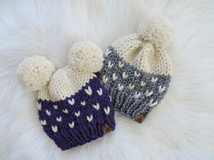 Custom Order - Adult Colourblock Heart Knit Hat