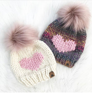 Custom Order - Adult Large Heart Knit Hat