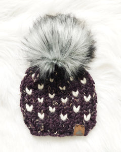 Ready to Ship 0-6M Size Mini Hearts Knit Hat