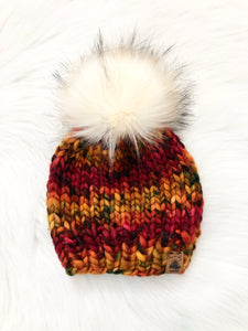 Ready to Ship - Toddler Size 100% Merino Wool Chunky Knit Hat - Hello October