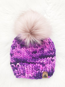 Ready to Ship - Toddler Size 100% Merino Wool Chunky Knit Hat - Berry Explosion