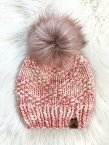 Ready to Ship 100% Merino Wool Chunky Knit Hat - Pink