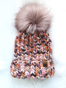 Ready to Ship - Adult Size 100% Merino Wool Chunky Knit Hat - Glacier Dusk