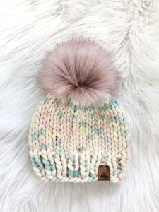Ready to Ship - Toddler Size 100% Wool Chunky Knit Hat - Marshmallow