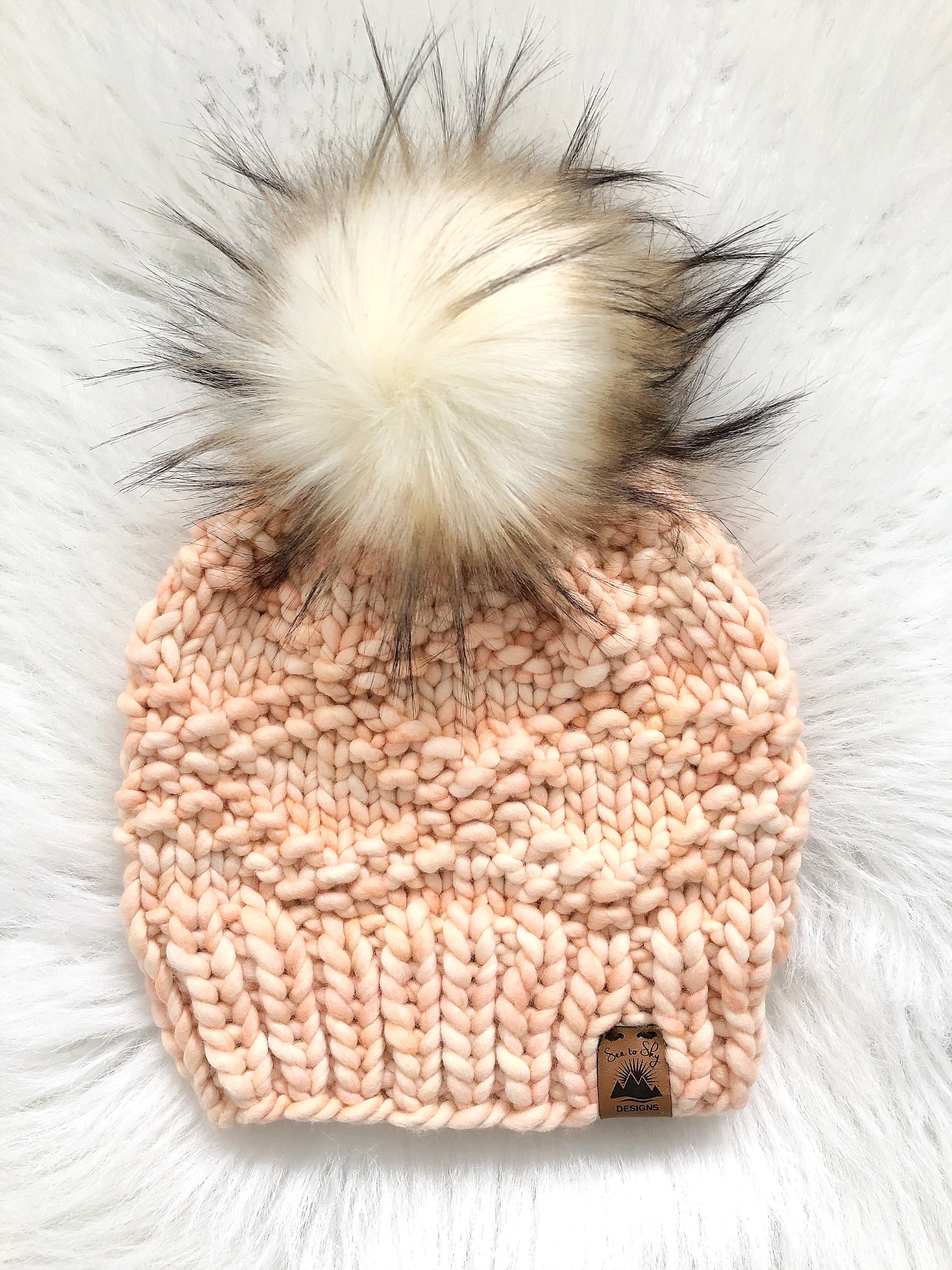 Ready to Ship 100% Merino Wool Chunky Knit Hat - Peach