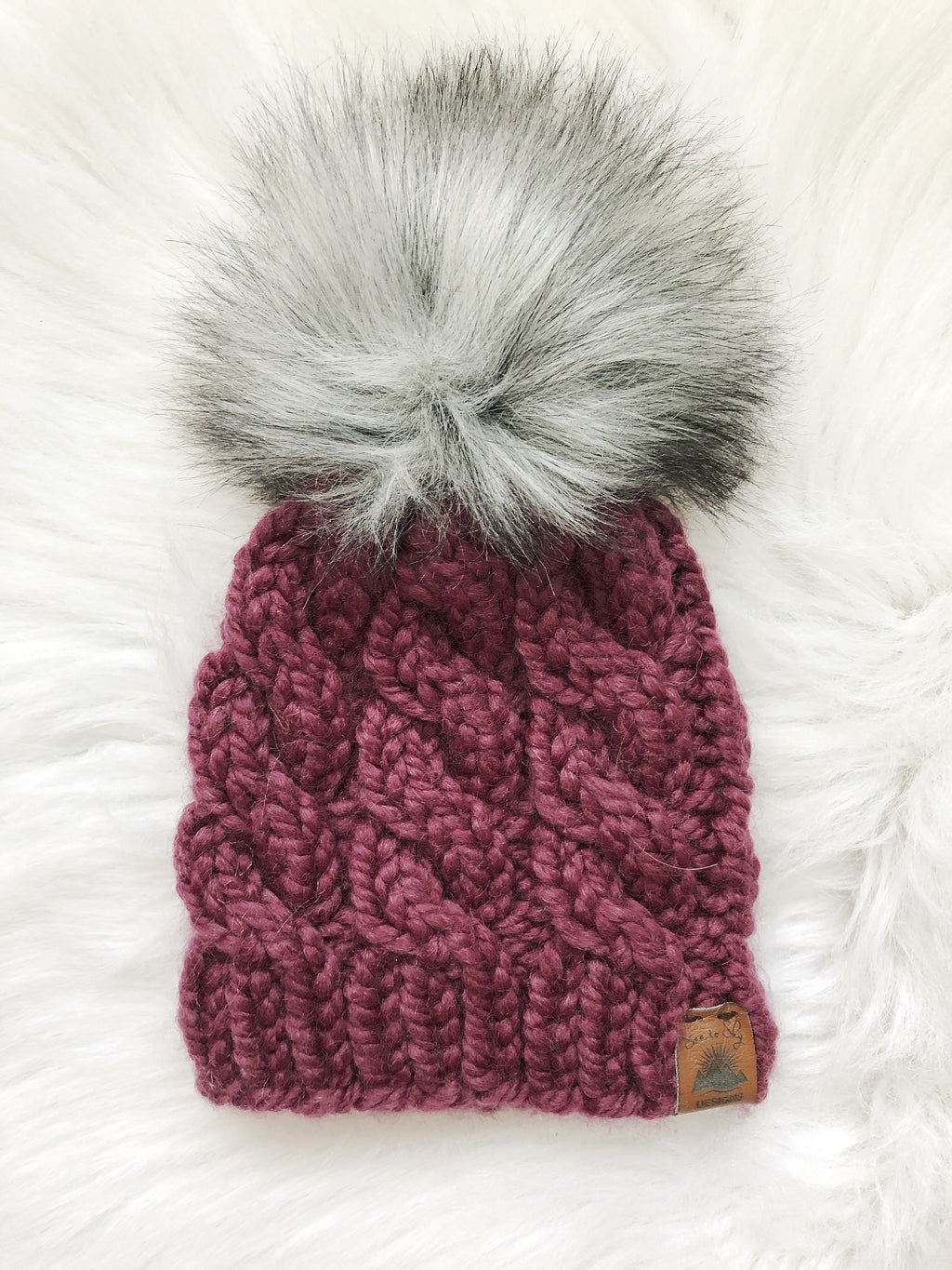 Ready to Ship 6-12M Size Solid Cable Knit Hat