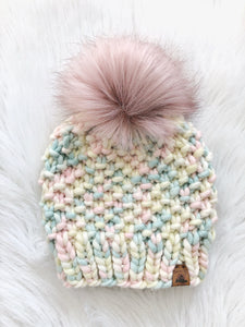 Made To Order Adult Size 100% Peruvian Wool Chunky Knit Hat - Marshmallow